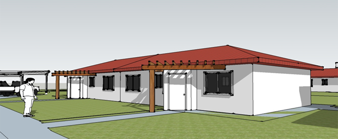Image of the east-facing entry vestibules and porches that will improve thermal comfort and align with the Nez Perce tradition.