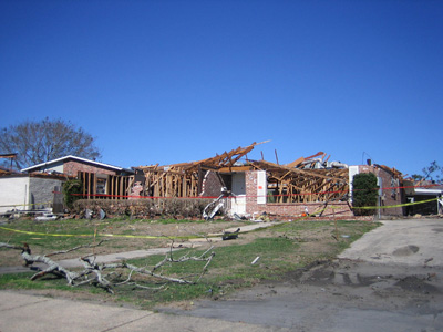 A house damaged by hurricane Katrina in 2005.