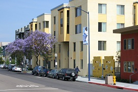 Street view of Lillian Place development in San Diego, California.