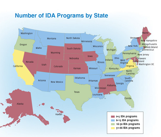 "Source: ""Find an IDA Program Near You,"" The Corporation for Enterprise Development website (cfed.org/programs/idas/directory_search/). Accessed 19 November 2012."