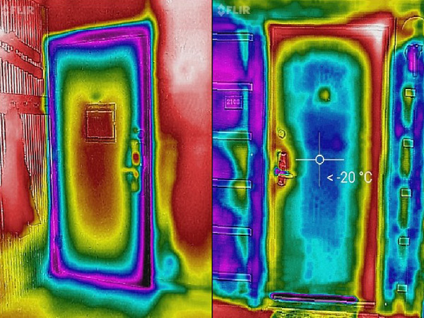 Left: Thermal image of the inside of a door, where the cool areas around the edges of the door are visible. Right: Thermal image of the outside of a door, where the warm areas around the edges of the door are visible.