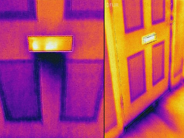 Left: Thermal image of a door in which the uninsulated mail slot is visible. Right: Thermal image of a door in which the insulated mail slot is visible, as is air leakage under the door.