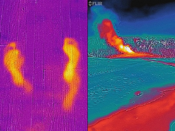 Left: Thermal image of a floor on which two footprints are visible. Right: Thermal image of the Old Faithful geyser in Yellowstone National Park, in which the hot water coming from the geyser is visible.
