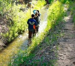 Three students walking along an acequia.