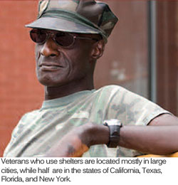 A homeless veteran dressed in camouflage.