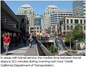 A transit hub in downtown Oakland, California.