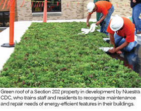 Green roof of a Section 202 property in development by Nuestra CDC, who trains staff and residents to recognize maintenance and repair needs of energy-efficient features in their buildings.