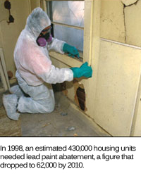 A picture of a worker removing lead-based paint in an older home.