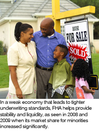 A picture of a minority family next to a home they have just purchased.