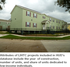Attributes of LIHTC projects included in HUD's database include the year of construction, number of units, and share of units dedicated to low-income individuals.