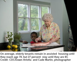On average, elderly tenants remain in assisted housing until they reach age 78, but 27 percent stay until they are 85. Credit: CDC/Dawn Arlotta and Cade Martin, photographer