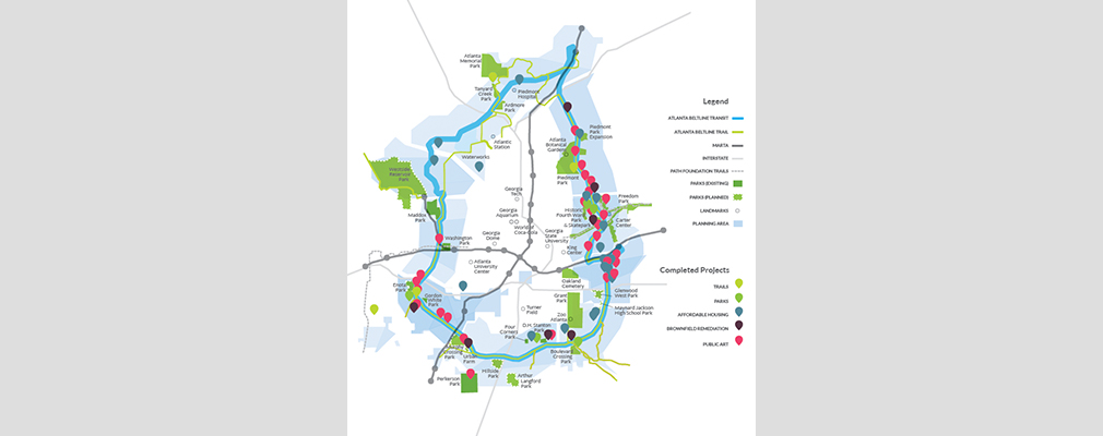 Map showing the BeltLine planning area, major landmarks, and completed trails, parks, affordable housing, brownfield remediation, and public art.