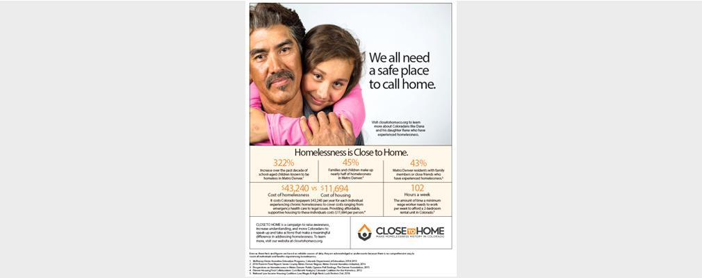 An ad for Close to Home shows a father and daughter.