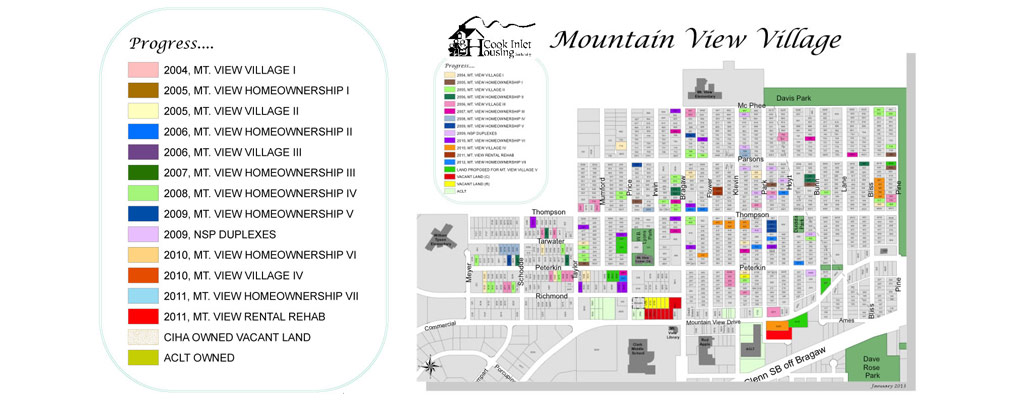 Map of Mountain View depicting parcels of land that are color-coded based on the year that the parcel was redeveloped.