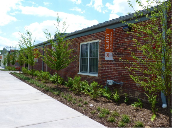 A photograph taken at street level showing the side of the rehabilitated mill building with ground cover, shrubs, and trees newly planted between the sidewalk and the building (courtesy of Better Housing Coalition).