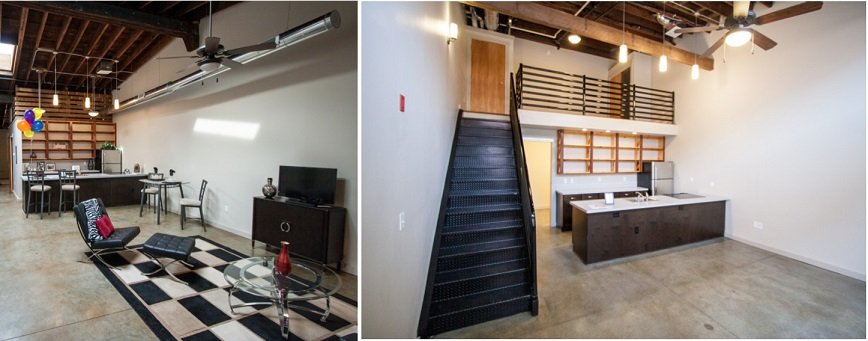 Two photographs showing the interiors of apartments, one with a combined kitchen and living space and another with a loft space above the kitchen area (courtesy of Better Housing Coalition).
