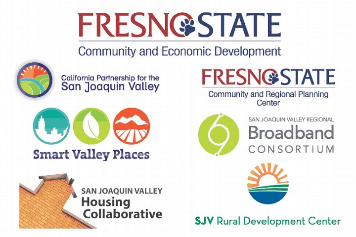 Composite image of logos for CSU Fresno OCED and several initiatives the office participates in: California Partnership for the San Joaquin Valley, Smart Valley Places, San Joaquin Valley Housing Collaborative, CSU Fresno Community and Regional Planning Center, San Joaquin Valley Regional Broadband Consortium, and SJV Rural Development Center.