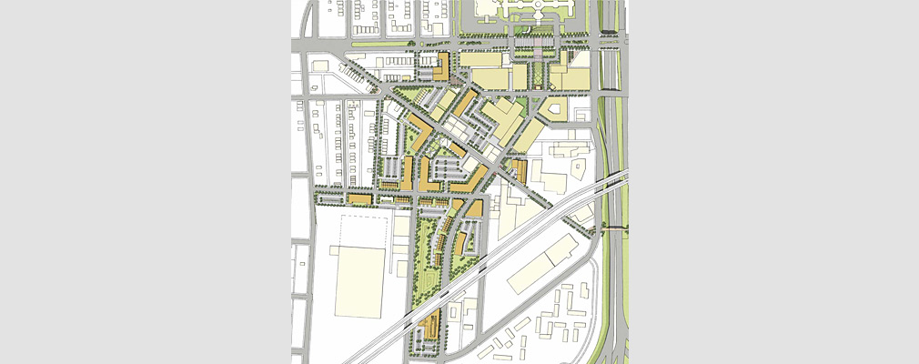 A rendered map of the eastern portion of the neighborhood showing how future buildings, parking, open spaces could be arranged.
