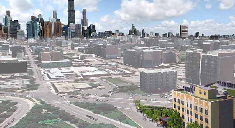 A low-angle aerial rendering, with three-dimensional buildings overlaid on an aerial photograph of the Near West Side of Chicago looking eastward toward downtown Chicago. Harvest Commons is in the foreground in the lower right-hand corner of the image; skyscrapers and mid-rise buildings line the horizon in the background.
