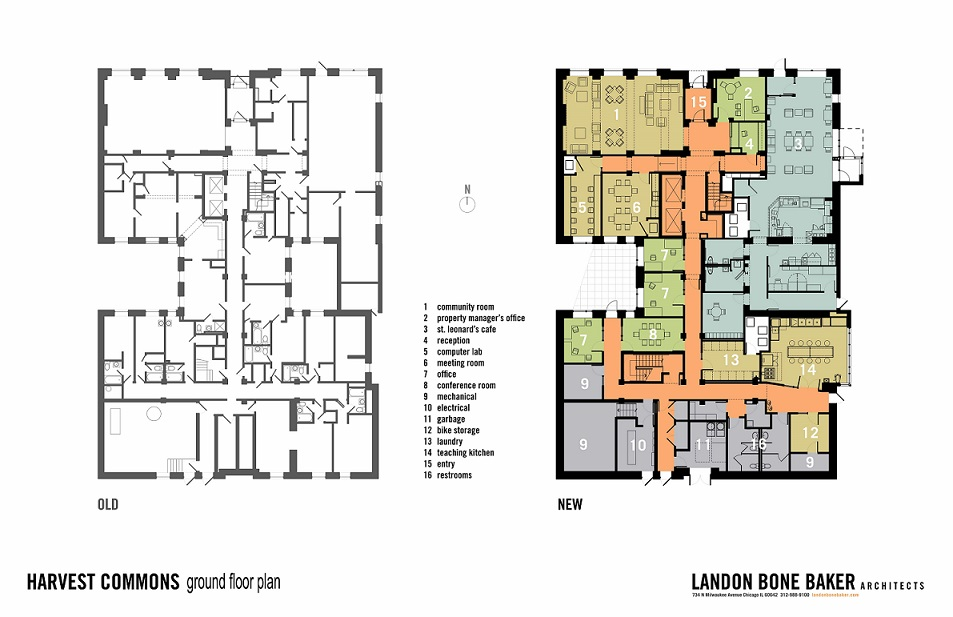 Before and after plans of the building's first floor. On the left is an unrendered floor plan showing the room arrangement before renovation. On the right is a rendered floor plan after renovation.