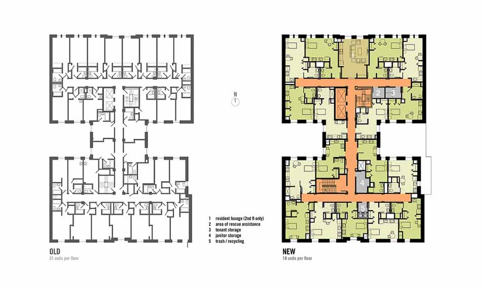Before and after plans of one of the building's five dumbbell-shaped residential floors. On the left is an unrendered floor plan showing the layout of 31 units before renovation. On the right is a rendered floor plan showing 18 units after renovation.