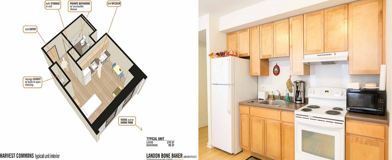 A three-dimensional, perspective cross-section of a typical living unit, with call-out boxes identifying the kitchen area, the bathroom, and storage areas. A photograph of the kitchen area showing wood cabinets and a refrigerator, conventional oven, and microwave oven.