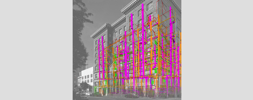 Computer-generated representations of pipes and duct work superimposed on a photograph of the front and side façades of Kelly Cullen Community.