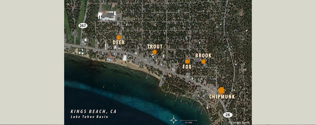 A satellite photograph of Kings Beach, California, showing the location of each of the five scattered sites in the Kings Beach Housing Now development labeled with the name of the site: Deer, Trout, Fox, Brook, and Chipmunk.