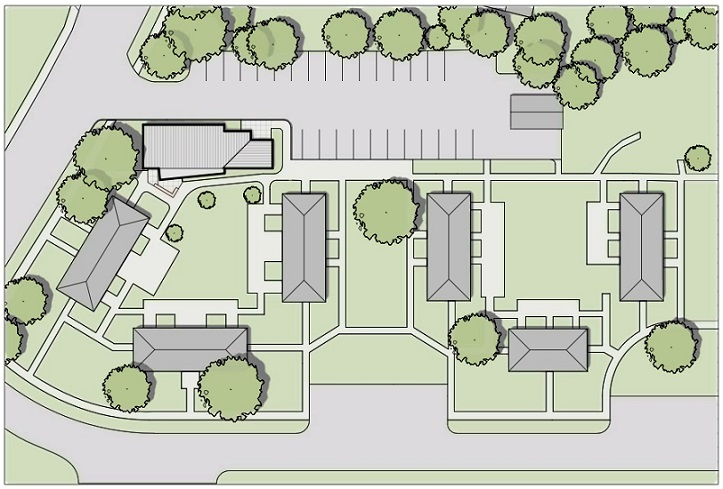 A site plan showing the community center in relation to the apartment buildings. On the left side of the site, the community center is one of four buildings grouped around a central lawn. On the right of the site, three buildings create a u-shape around another lawn area. The two groups of buildings are separated by a third lawn area. Three small parking areas are located below the buildings, and one large parking lot is at the top of the site.