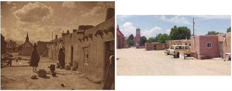 "A historic photograph of Owe'neh Bupingeh from the late 19th century and a photograph taken at the same location in Owe'neh Bupingeh in the early 21st century before restoration efforts (image left, ""Street Scene at San Juan,"" Edward S. Curtis, courtesy of the Northwestern University Library; image right, courtesy of Atkin Olshin Schade Architects)."
