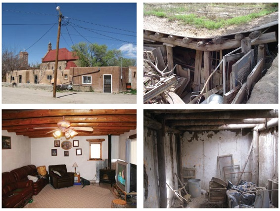 Two exterior and two interior photographs of pueblo homes in varying states of repair (courtesy of Atkin Olshin Schade Architects).