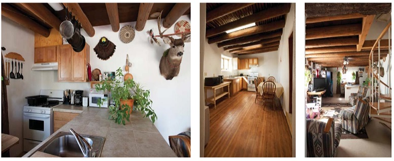 Three photographs of kitchen and living areas in restored pueblo homes (courtesy of Kate Russell Photography, 2012).