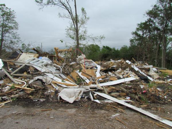 Image of Tushka, Okla., April 26, 2011 -- A tornado hit the town of Tushka on April 14, destroying homes. Jeannie Warner/FEMA.