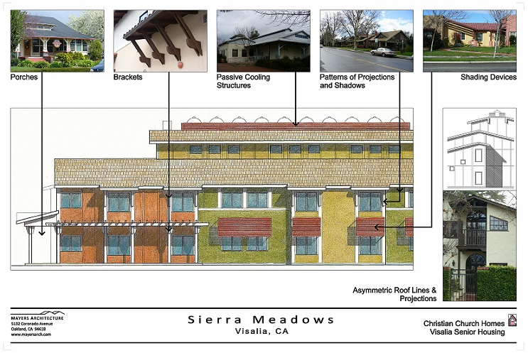 An early presentation board prepared by the project's architects with a rendered drawing of the front elevation of Sierra Meadows on which architectural elements are identified; a series of small photographs show similar elements in existing buildings in Visalia.