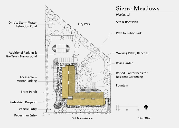 Site plan for Sierra Meadows showing the building, parking areas, the terrace and raised planters, the walkway to the city park to the rear of the property, and other site features.
