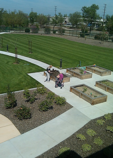 Photograph taken from the Sierra Meadows building looking down on two residents tending to one of six raised planting beds located behind the building. The planters are surrounded by a paved surface, and walkways lead from the building to the planters and from there to the city park in the background. Bushes, trees, and a large lawn are planted near these hardscapes.
