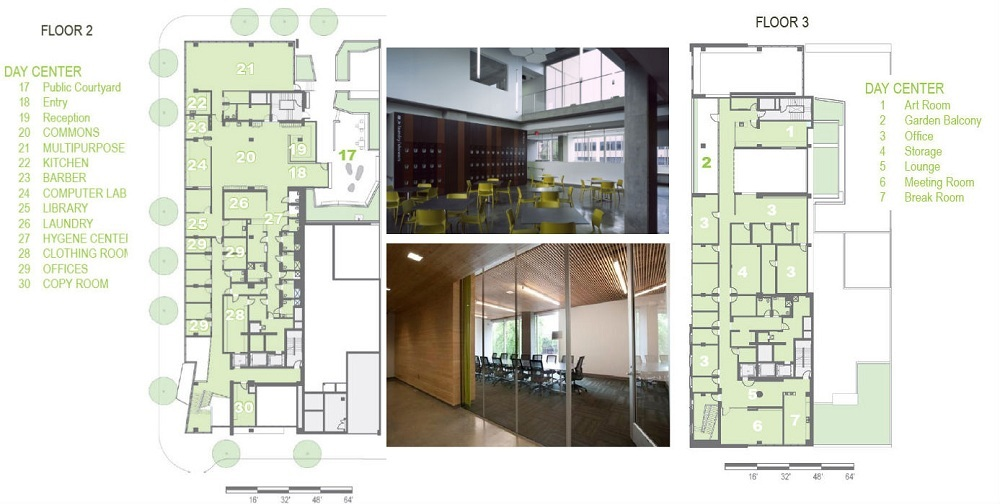 The resource center is designed to accommodate a variety of services for the homeless population; it includes community and multipurpose spaces, as well as an art room and an exercise facility (plan courtesy of Hoist Architecture, image courtesy of Sally Schoolmaster).