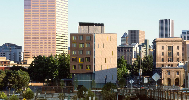 The Commons sits in a prominent location along a gateway to downtown Portland (courtesy of Sally Schoolmaster).