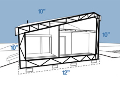 Image of a cross-section of the Buckland home, highlighting the integrated truss formed by the floor, wall, and roof structure.