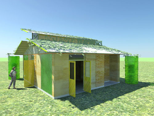 An image of a concept house constructed entirely from recycled waste material.