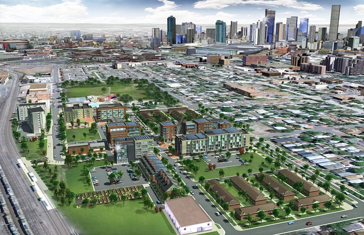 Three dimensional rendering of the plan for the Mariposa District, illustrating how the new developments will be integrated into the urban landscape in Denver.