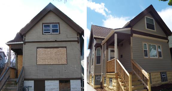 Two photographs, one taken before and one after renovations, of a single-family detached home. The before-image is of a home with a boarded window and door, a deteriorating wood staircase, and asphalt siding; the after-image shows the home with new a new staircase, windows, and door, as well as wood siding.