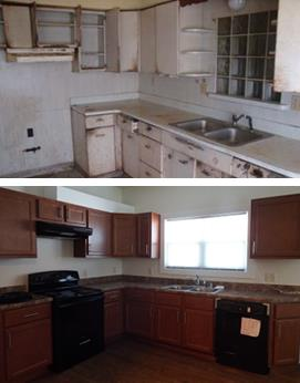 Two photographs, one taken before and one after renovations, of a single-family detached home. The before-image is of an outdated, dirty kitchen with no appliances, and the after image is of a renovated kitchen with new cabinets and ENERGY STAR appliances.