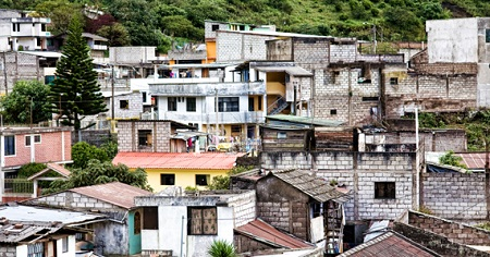 Image of slum housing in Ecuador.