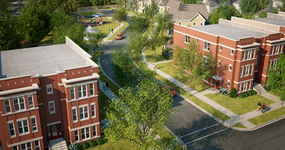 A rendering of the Emerson Square project in Evanston, Illinois shows a diversity of housing types, which include townhomes and flats and neighborhood that is well connected with sidewalks and other pedestrian elements.