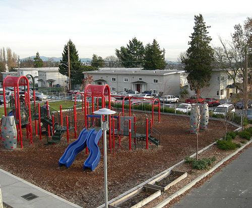 Image of a housing project and playground in Seattle, Washington.