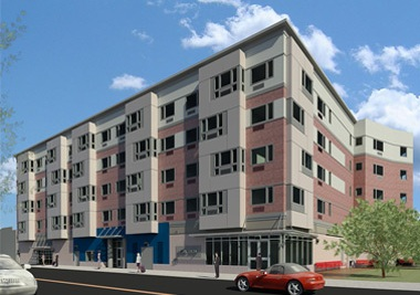 A rendering of Tagliareni Plaza, a five-story building, with a façade that differentiates the first-floor commercial space, lobby, and garage entrance from the residential floors above by means of material, color, and window size and shape — as seen from across the street.