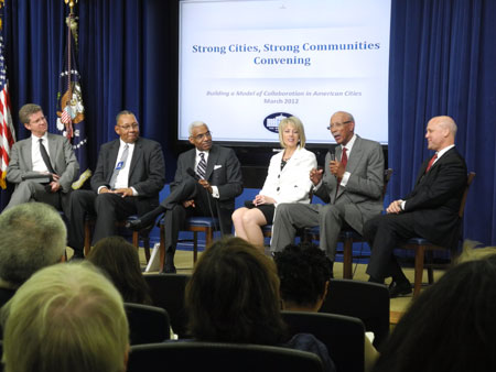 Pictured from left to right: Secretary Donovan, Mayor Linder (Chester), Mayor Wharton (Memphis), Mayor Swearengin (Fresno), Mayor Bing (Detroit), and Mayor Landrieu (New Orleans).