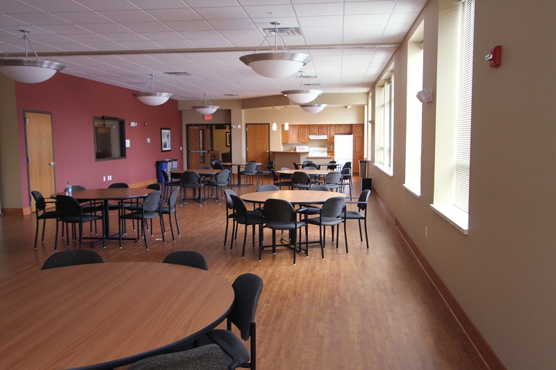 A café is located on the first floor of Veterans Manor.