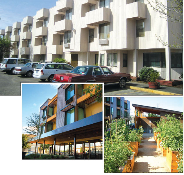 Before (top) and after pictures of Walnut Park illustrate the result of NOAH's financing and technical assistance that helps preserve and build affordable housing for low- and moderate-income families, seniors, and special needs residents. Farmworker Housing Development Corporation